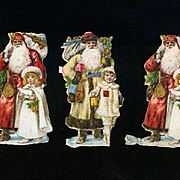 Victorian Christmas Scrap, 5 Tiny Die Cut Santas, Girls with Dolls, Toys (A)