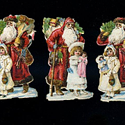 Victorian Christmas Scrap, 5 Tiny Die Cut Santas, Girls with Dolls, Toys (B)