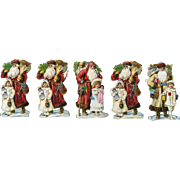 Victorian Christmas Scrap, 5 Tiny Die Cut Santas, Girls with Dolls, Toys (B)