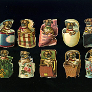 10 Miniature Victorian Die Cuts, Pug Puppies in Baskets, Egg, Boxes, etc #200