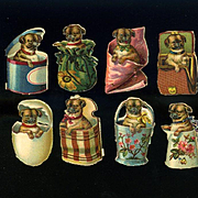 8 Miniature Victorian Die Cuts, Pug Puppies Playing in Baskets, Egg, Boxes, Pail, etc #202