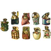 9 Miniature Victorian Die Cuts, Pug Puppies Playing in Baskets, Egg, Boxes, Pail, etc #204