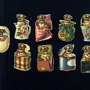 9 Miniature Victorian Die Cuts, Pug Puppies Playing in Baskets, Egg, Boxes, Pail, etc #206