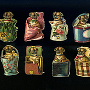 8 Miniature Victorian Die Cuts, Pug Puppies Playing in Baskets, Purse, Boxes, Pail, etc #207