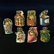 7 Miniature Victorian Die Cuts, Pug Puppies Playing in Baskets, Purse, Boxes, Pail, etc #208