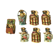 7 Miniature Victorian Die Cuts, Pug Puppies Playing in Baskets, Purse, Boxes, Pail, etc #209