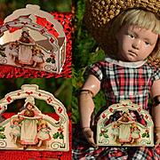 c1915 Miniature Christmas Candy Box, Doll Size, Die Cut, Holly, Frances Brundage Children