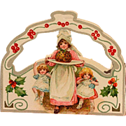 c1915 Miniature Christmas Candy Container Box, Doll Size, Die Cut, Holly Berry, Frances Brundage Children