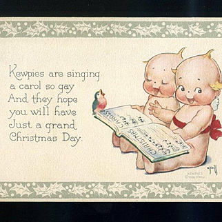 1920's Rose O'Neill Kewpie Christmas Postcard, Singing