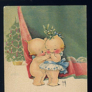 1920's Rose O'Neill Kewpie Christmas Postcard, Mistletoe Kiss