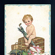 c1915 Signed Frances Brundage New Year Baby Postcard