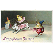1913 Easter Postcard, Circus Chicks and Rabbit, Different!
