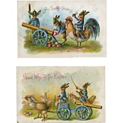 c. 1908 Pair of Easter Postcards, Rabbits Dressed As Soldiers, Fire Eggs from Cannon, Hens, Wagon