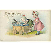 c. 1910s Easter Postcard, Little Girls with Baby Bunny in Cart