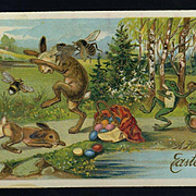 c.1910's German Easter Postcard, Huge Bees Attack Rabbit, Frogs Throw Rocks, Unusual!
