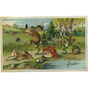 c.1910's German Easter Postcard, Huge Bees Attack Rabbit, Frogs Throw Rocks, Unusual!