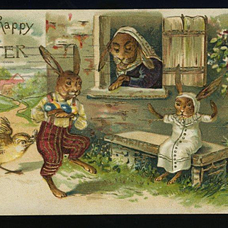 1907 German  Easter Postcard, Brother Bunny Brings Baby Sister Bunny Eggs, Mama Watches