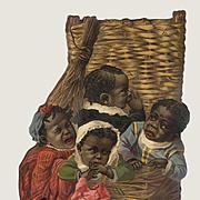 Black Children in a Basket, Little Girl with White Mache Doll, Large Antique Die Cut