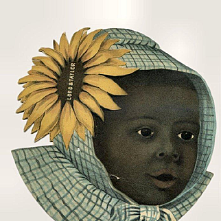 c1890s Large Die Cut Card, Little Black Girl in Bonnet, Advertising Lord & Taylor Stores, Very Unusual