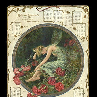 1904 Madjeska Carnation FAIRY, Larkin Soap Large Die Cut Calendar