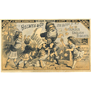 Rare 1880 Santa Christmas Children, Victorian Trade Card for Holmes Famous English Biscuits