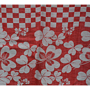 Turkey Red Tablecloth Checkerboard and Clover 54 x 87