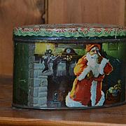 Early 1900's Christmas Tin Litho Bank, Santa, Reindeer