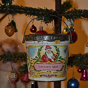 c1890s Santa Claus Tin Litho Christmas Candy Container Pail, Excellent Graphics