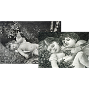 Cupid & Children Napping, Two c. 1870's / 1880s Engravings, Very Nice