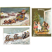 3 Victorian Trade Cards, Christmas, Winter, Dog, As Is