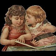 Little Girls Read a Book, Large Antique Cut Out, Chromo Print