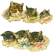 Pair CATS in Ruffled Collars with Pink / Yellow / Blue Bows, Victorian Die Cuts