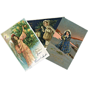 3 Antique German Christmas Post Cards, Snow Children, Angel, Tree