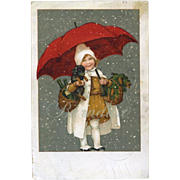 Antique Christmas Postcard, Girl & Dachshund Puppy, Red Umbrella, Snow, Denmark