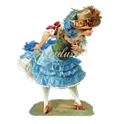 Large 8 inch Victorian Die Cut, Young Girl in Straw Feathered Hat, Blue Ruffled Skirt, Great Pose