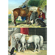 1870's Pair of Prints of Dogs with Horses, Quality Early Chromolithograph