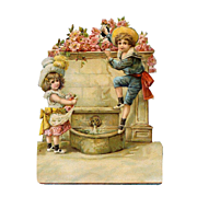 Little Girl in Pink / Boy in Nautical Playing on Flowery Fountain Large  Victorian Die Cut