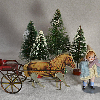 """Gibbs Pony Cart & 4"""" All Bisque, Glass Eyes"""