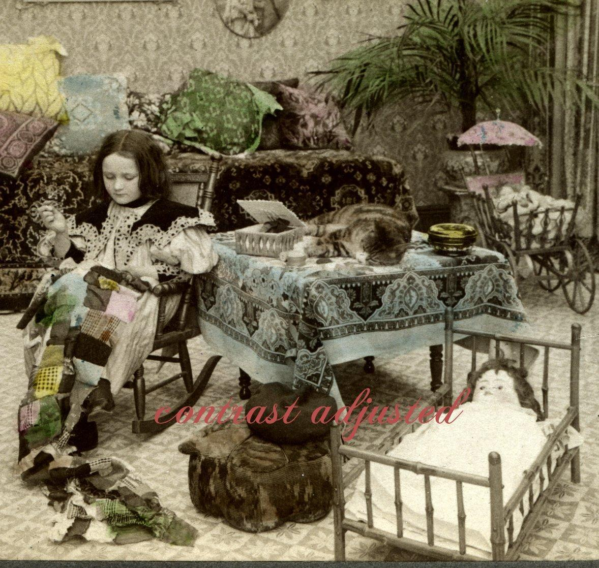 1903 Stereoview Photo Girl Sews Doll Quilt Cat Snoozes