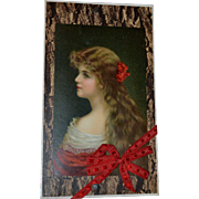 c1910s Candy Box Sample TOP Only, RED Silk Bow, Romantic Long Haired Woman Litho Card #77