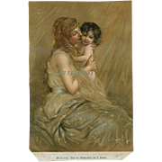 c1880s Mother with Dark Haired Child, Print by Josef Koppay
