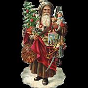 Victorian Die Cut, Embossed German Santa Claus w Decorated Tree, Toys, Doll, Fruit