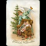 "c. 1890s German Christmas Card, Tree, Angel, Sleeping Children,  Toys ""Merry Christmas"""
