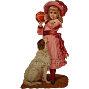 Large Victorian Die Cut, Girl in Pink Dress, Dogs Waits to Catch Ball, Embossed