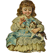 Victorian Die Cut, Girl Feeds Cat Cherries, Blue Lace Dress, Gold Trim, Uncommon