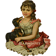 Victorian Die Cut, Girl in Lacy Dress with Pet Dog, Gold Trim, Uncommon