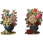 Antique Victorian Die Cuts, Vases of Roses and Flowers, Strong Detail, Embossed