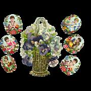 Victorian Die Cut Basket, Flowers, Children