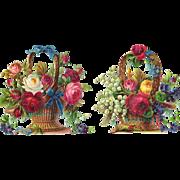 Baskets of Roses, Pair Antique Die Cuts, Embossed