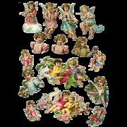 Group of 15 Antique Angel or Cherub Die Cuts #57